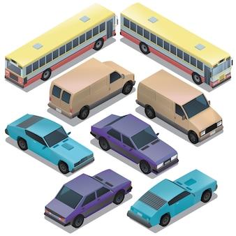 Reihe von isometrischen städtischen verkehr. autos mit den schatten getrennt auf weißem hintergrund