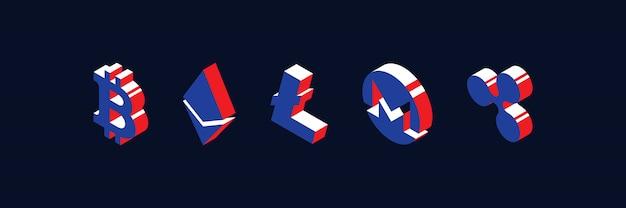Reihe von isometrischen symbolen verschiedener kryptowährungen.