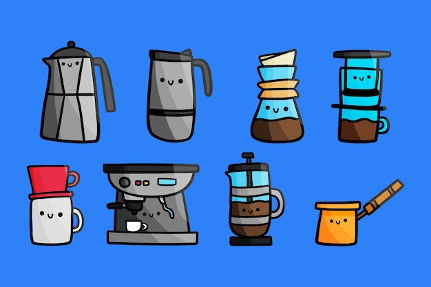 Reihe von kaffeezubereitungsmethoden