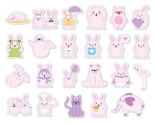 Reihe von kaninchen und tiere kawaii zeichen