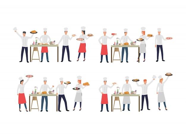 Reihe von köchen mit verschiedenen gerichten