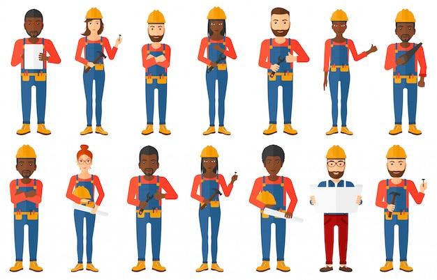 Reihe von konstruktoren und bauherren zeichen