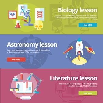 Reihe von konzepten für biologie, astronomie, literaturunterricht. konzepte für web s und druckmaterialien.