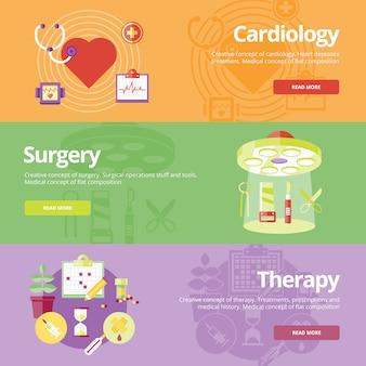 Reihe von konzepten für kardiologie, chirurgie, therapie. medizinische konzepte für web s und druckmaterialien.