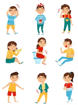 Reihe von kranken kindern. kleine jungen und mädchen mit verschiedenen krankheiten. erkältung, zahnschmerzen, allergie oder influenza, bauchschmerzen, armbruch