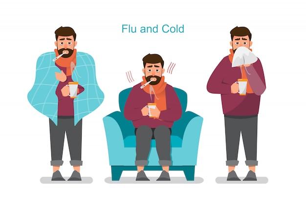 Reihe von kranken menschen, die sich unwohl fühlen