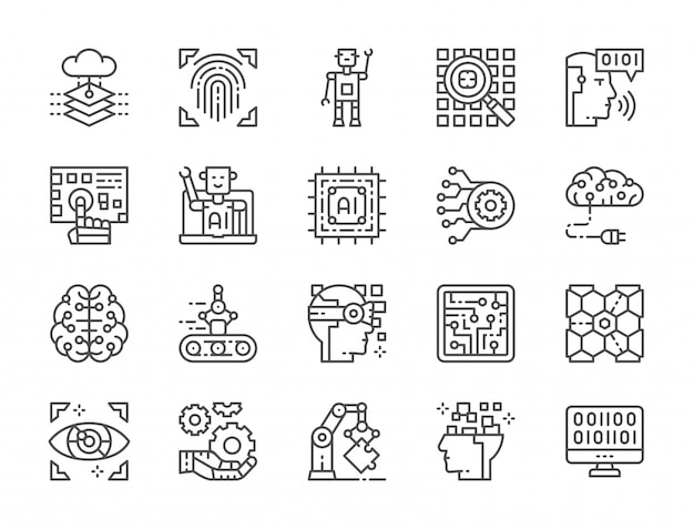 Reihe von künstlichen intelligenz linie icons