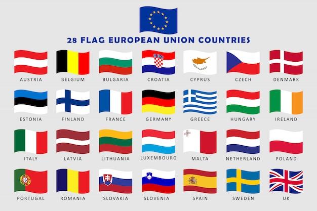 Reihe von ländern der europäischen union welle flags