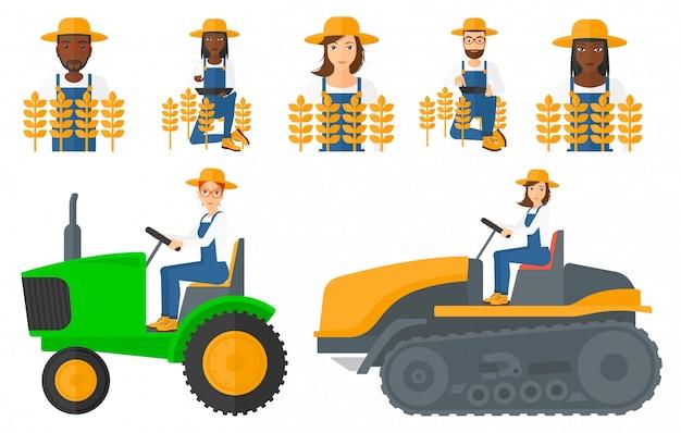 Reihe von landwirtschaftlichen bauern.