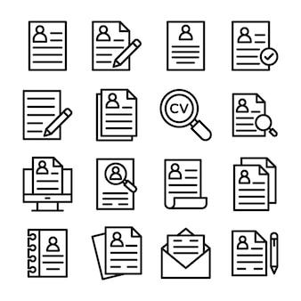 Reihe von lebenslauf linie icons