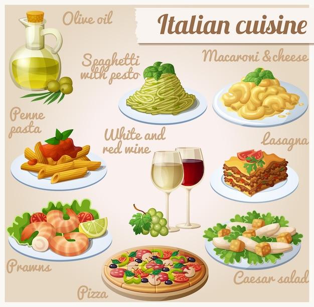 Reihe von lebensmittelsymbolen italienische küche