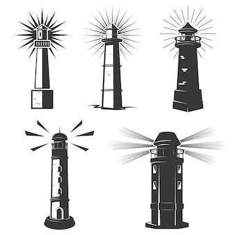 Reihe von leuchttürmen icons