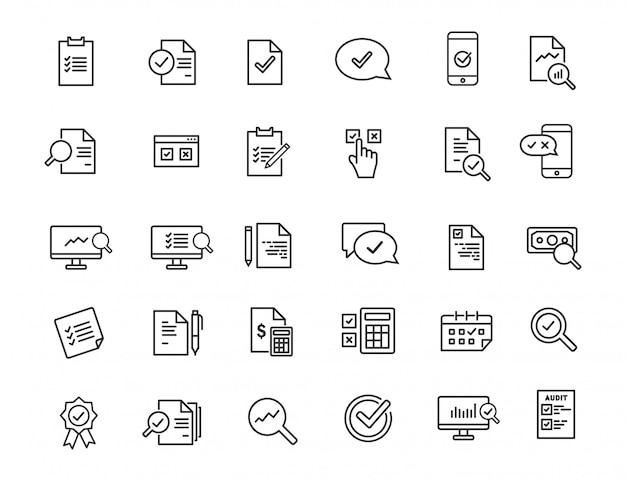 Reihe von linearen audit icons. inspektionsikonen im übersichtlichen design.