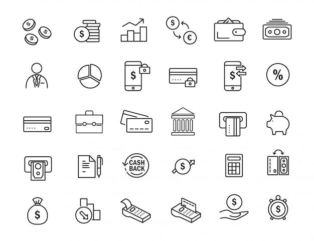 Reihe von linearen banking icons. finanzikonen im übersichtlichen design.