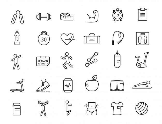 Reihe von linearen fitness-icons. fitness-ikonen im übersichtlichen design.