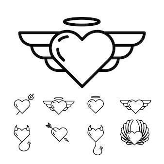 Reihe von linearen vektorsymbolen auf weißem hintergrund zum thema