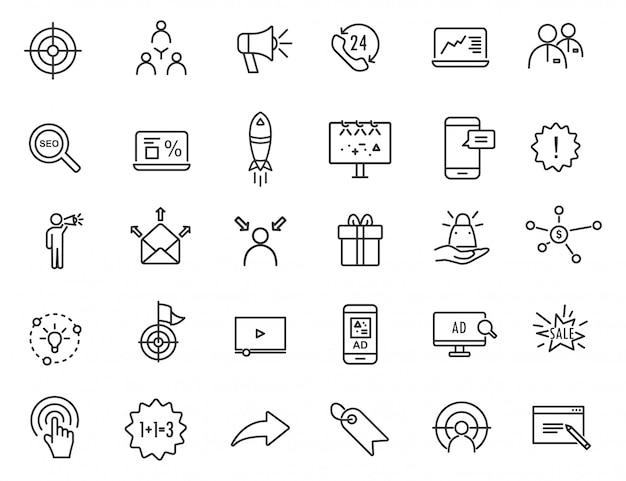 Reihe von linearen werbung icons. marketing-ikonen im übersichtlichen design.