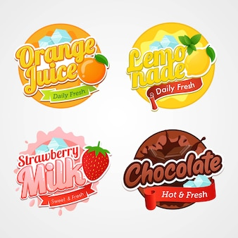 Reihe von logo-etiketten und abzeichen von frischen getränken