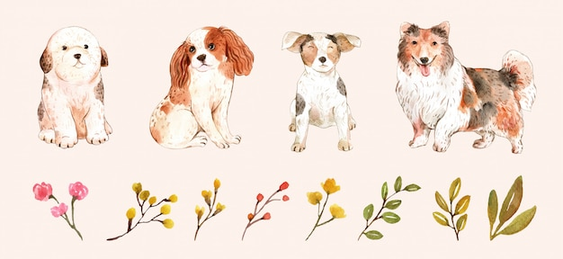 Reihe von lustigen hunden und blättern
