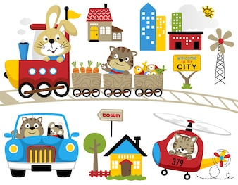 Reihe von lustigen Reisen mit lustigen Tieren