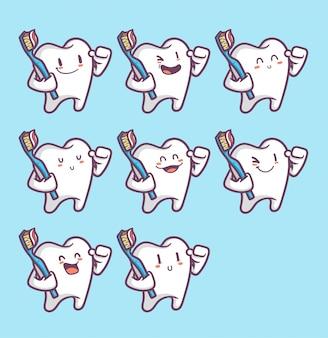 Reihe von lustigen zähnen