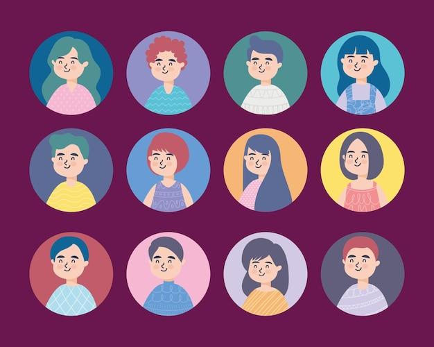 Reihe von männern und frauen avatare lächelnd