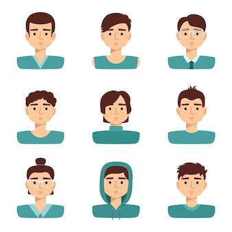 Reihe von männlichen porträts. avatare des sammlungsmannes, vektorillustration
