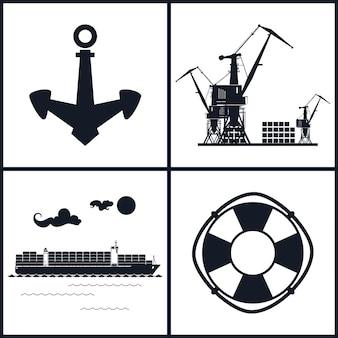 Reihe von maritimen symbolen für webdesign. symbole frachtcontainerschiff, anker, rettungsring und kräne, kräne entladen container, vektorillustration