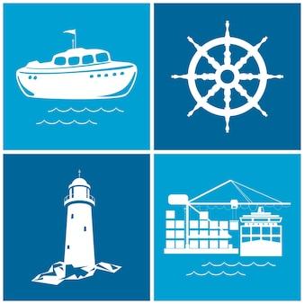 Reihe von maritimen symbolen für webdesign. symbole schiffsrad, boot, leuchtturm und kräne, kräne entladen container vom frachtcontainerschiff, vektorillustration