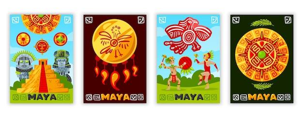 Reihe von maya-zivilisationsillustrationen