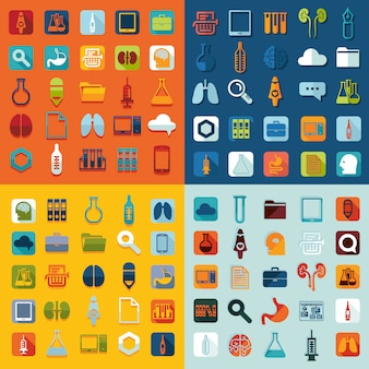 Reihe von medizinischen flachen icons