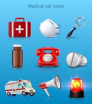 Reihe von medizinischen symbolen erste-hilfe-set tasche maske lupe pille flasche rote telefonpillen