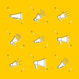 Reihe von megaphon dünne linie icons auf gelb
