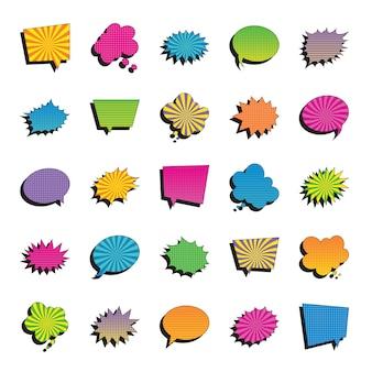 Reihe von mehrfarbigen retro-sprechblasen im pop-art-stil auf weißem hintergrund