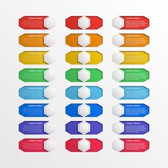 Reihe von mehrfarbigen schalter schnittstelle sechseckige tasten mit textfeldern. realistischer infographic schieber 3d.