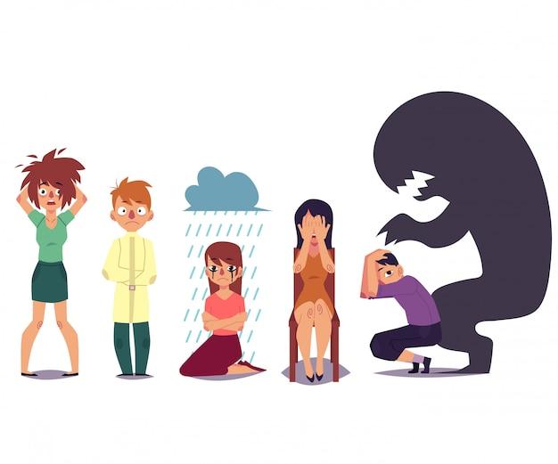 Reihe von menschen, die unter psychischen störungen leiden