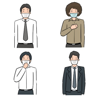 Reihe von menschen mit medizinischen schutzmaske