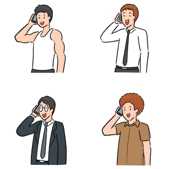 Reihe von menschen mit smartphone