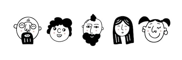 Reihe von menschlichen gesichtern, die positive emotionen ausdrücken menschliche gesichter mit einem breiten lächeln satz fröhlicher menschen
