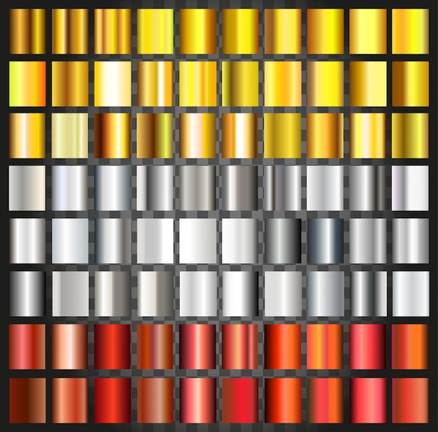 Reihe von metallischen farbverläufen