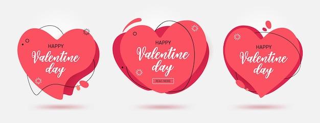 Reihe von modernen abstrakten vektorbannern für den valentinstag