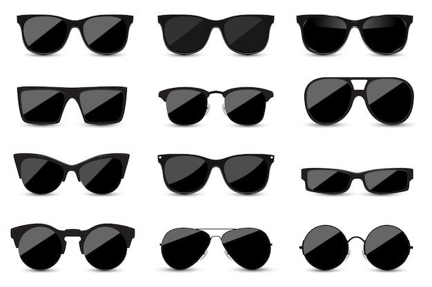 Reihe von modischen schwarzen sonnenbrillen auf weißem hintergrund