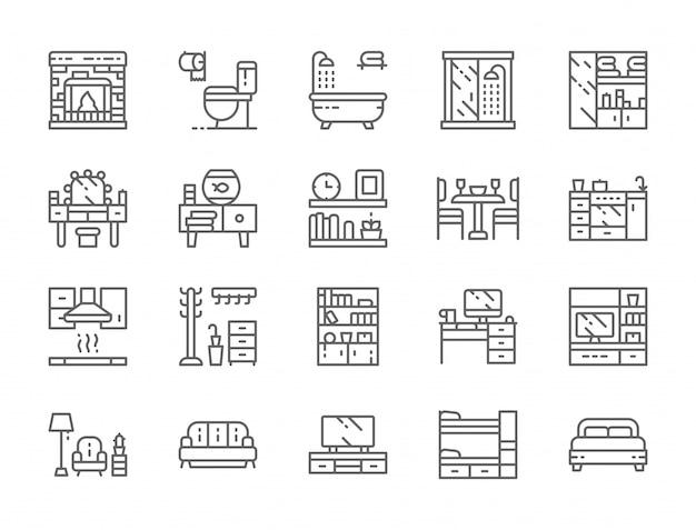 Reihe von möbeln linie icons