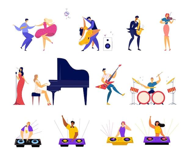 Reihe von musikalischen hobbys und unterhaltung.
