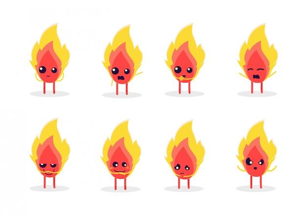 Reihe von niedlichen feuer zeichen