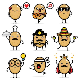 Reihe von niedlichen kartoffel-vektor-designs