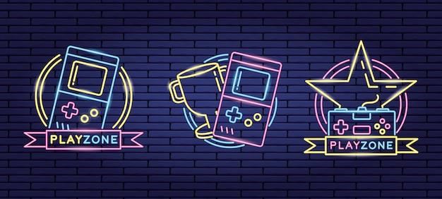 Reihe von objekten im zusammenhang mit videospielen im neon- und lienal-stil