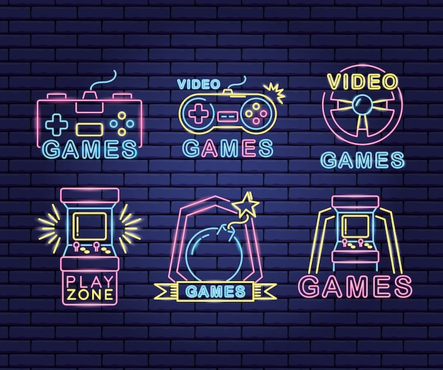 Reihe von objekten im zusammenhang mit videospielen in neon und linearem stil