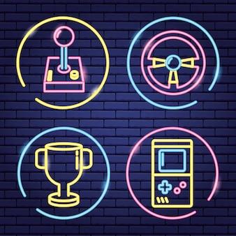 Reihe von objekten im zusammenhang mit videospielen in neon und linearen stil