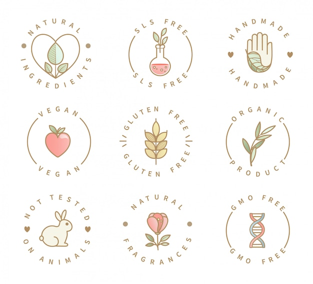 Reihe von öko-produkt-logos